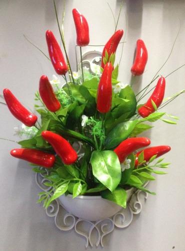 quadro moldura provençal pimentas vermelhas - artificial