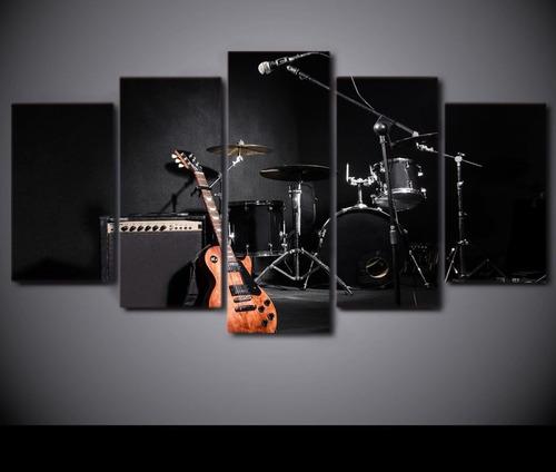 quadro mosaico 5 partes bateria drum musica  hd 4k  mdf 6mm