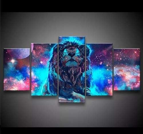 Quadro Mosaico 5 Peças Lindo Ultra Hd 4k Leão No Universo 4k