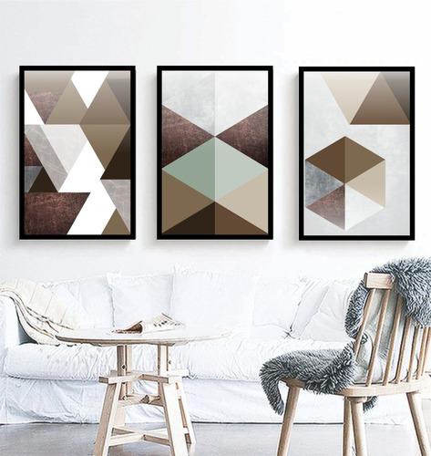 quadro mosaico abstratos marrom e neutro lindos quarto sala