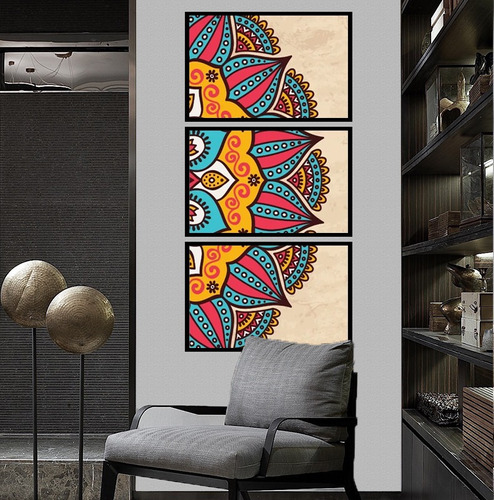 quadro mosaico mandala colorida vertical sala corredor hall