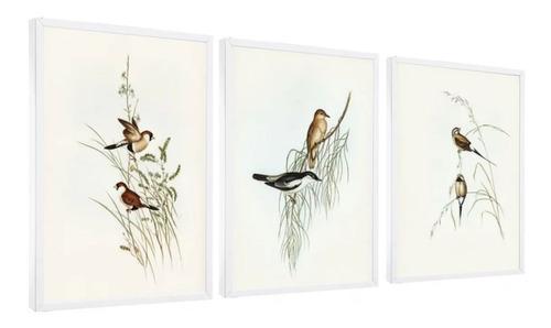 quadro mosaico  peças pássaros retro vintage colorido