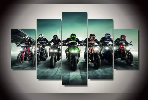 quadro motos amigos moderno 5 peças mosaico 150x65