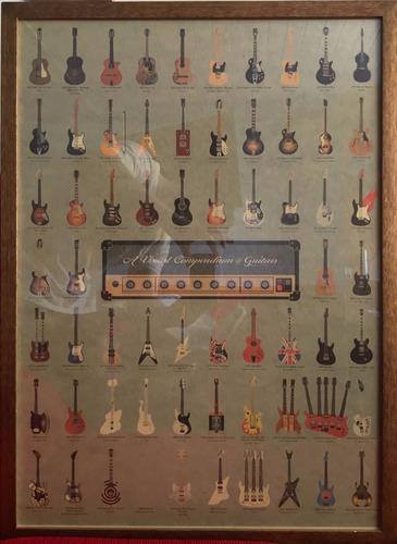 quadro musica famosas guitarras rock blues com moldura