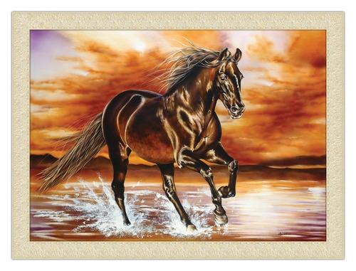 quadro natureza 80x60 com moldura - cavalo preto crepusculo