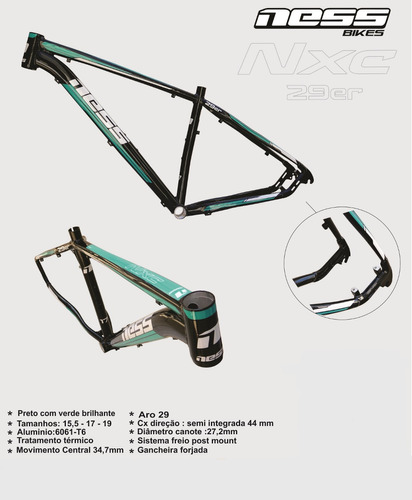 quadro ness mtb aro 29 cross country