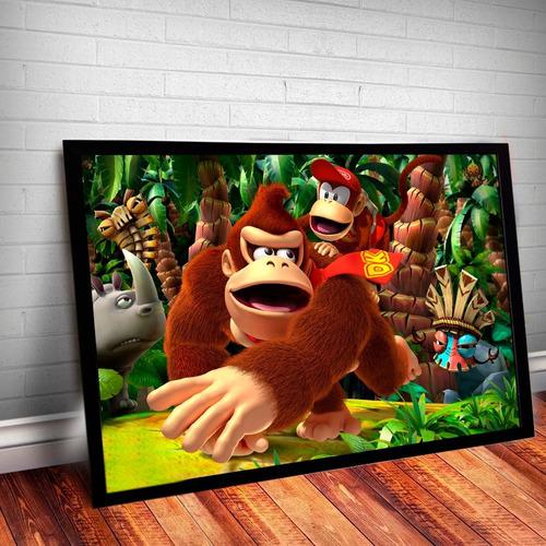 quadro nintendo donkey kong nerd gamer 60x40cm #2