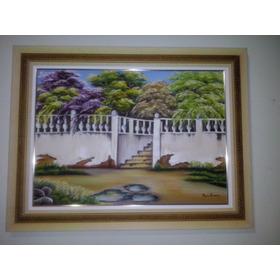 Quadro O Jardimtela Pintada A Mão 86x66 (óleo Sobre Tela)