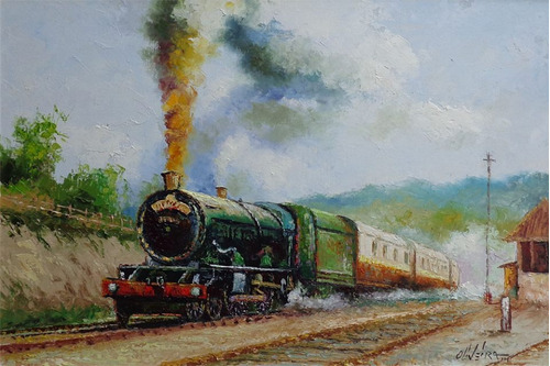 quadro óleo s/ tela locomotiva 2- 40cm x 60cm -cido oliveira