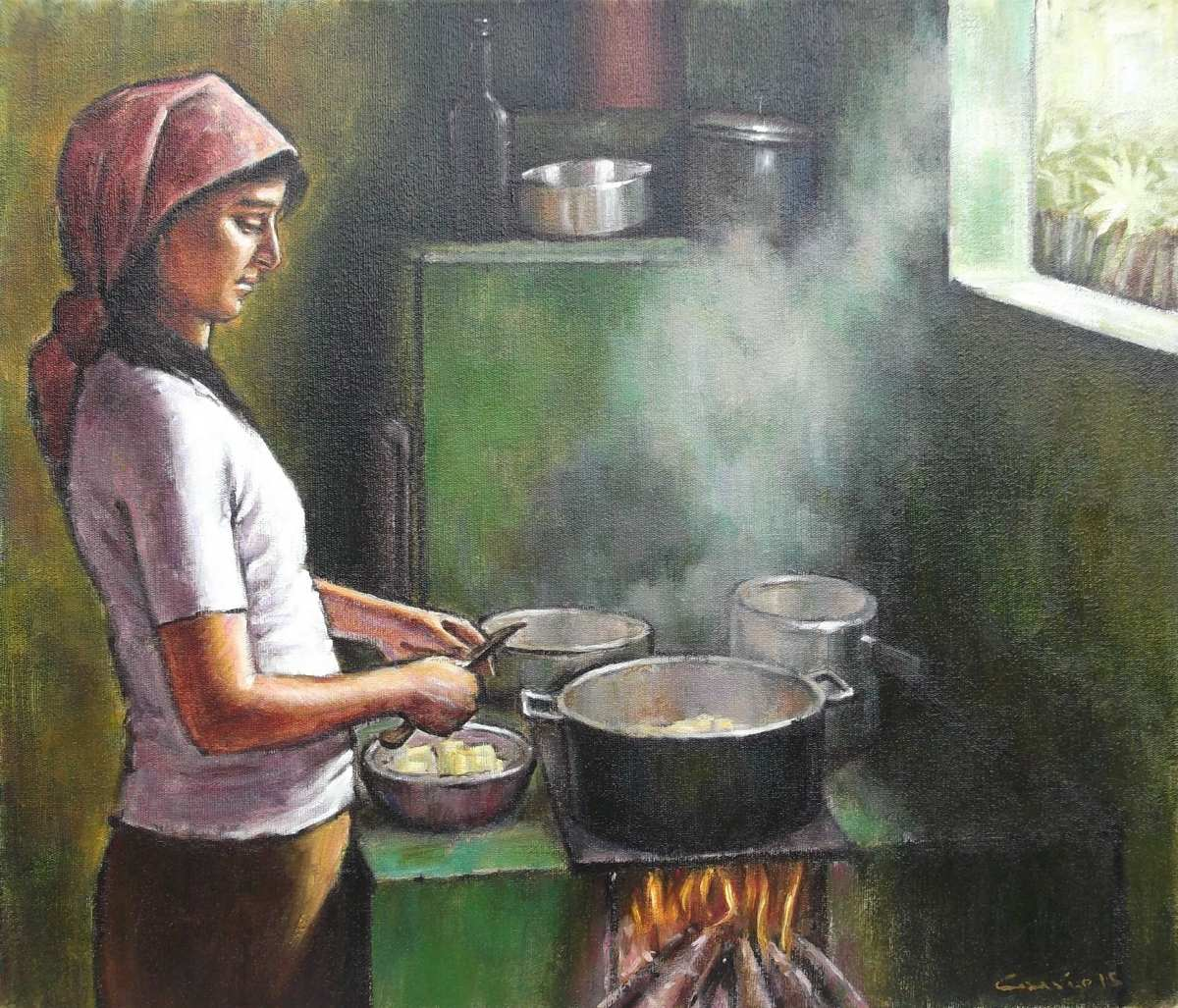 Quadro leo s tela pintura cozinha ro a 38x44 frete for In wash de roca