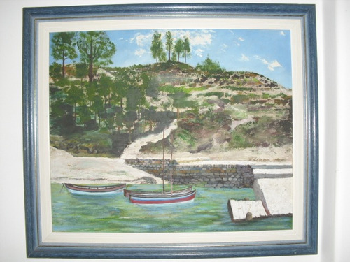 quadro oleo sobre tela  barco no ancoradouro - antigo
