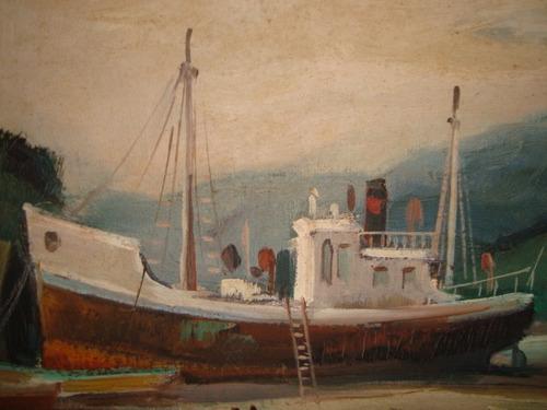 quadro óleo sobre tela - barco - pellegatta