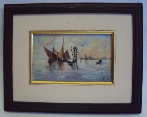 quadro óleo sobre tela barcos e oratório em veneza