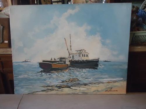 quadro óleo sobre tela motivo marina assinado  aley vianna
