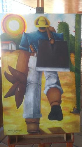 quadro - óleo sobre tela - o plantador de mandioca