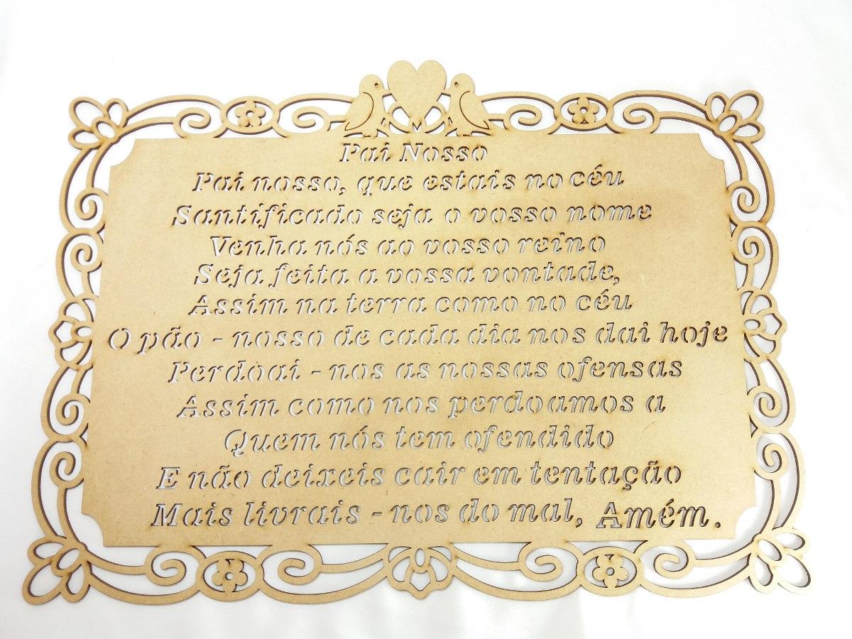 Oração Pai Nosso em quadro de madeira