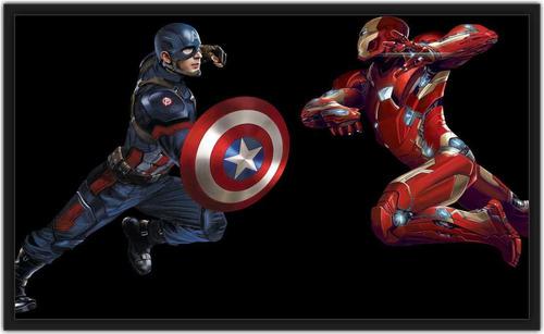 quadro os vingadores homem de ferro vs capitão américa