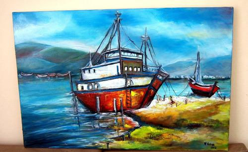 quadro ost oleo sobre tela mvellosn barcos brasileiros n°19
