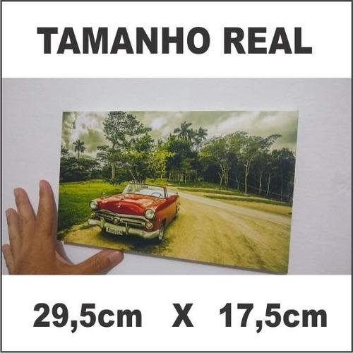quadro p decoração parede 29,5cm x 17,5cm paisagem, carros