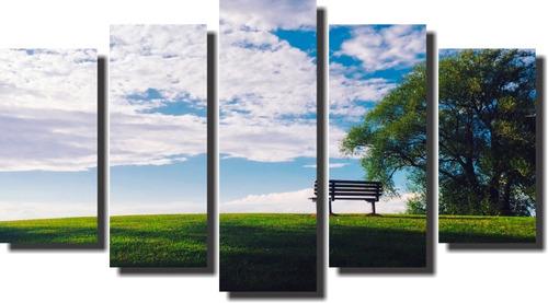 quadro paisagem banco no gramado verde  5 peças