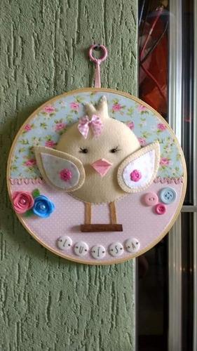 quadro para maternidade em bastidor - tema passarinho
