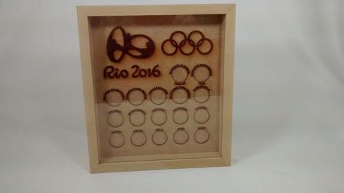 quadro para moedas das olimpíadas c/ acrílico em mdf