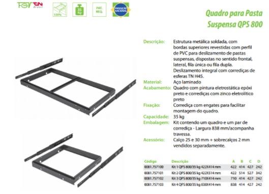 Quadro Para Pasta Suspensa Armário Qps 800 - R  80,00 em Mercado Livre bddf610285