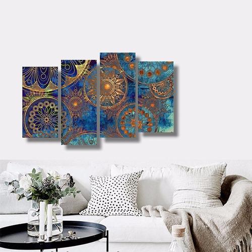 quadro para sala abstrato azul turquesa com ouro 1,10x65