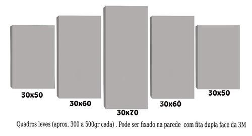 quadro para sala árvore vermelha fundo bege 5 peças 70x162