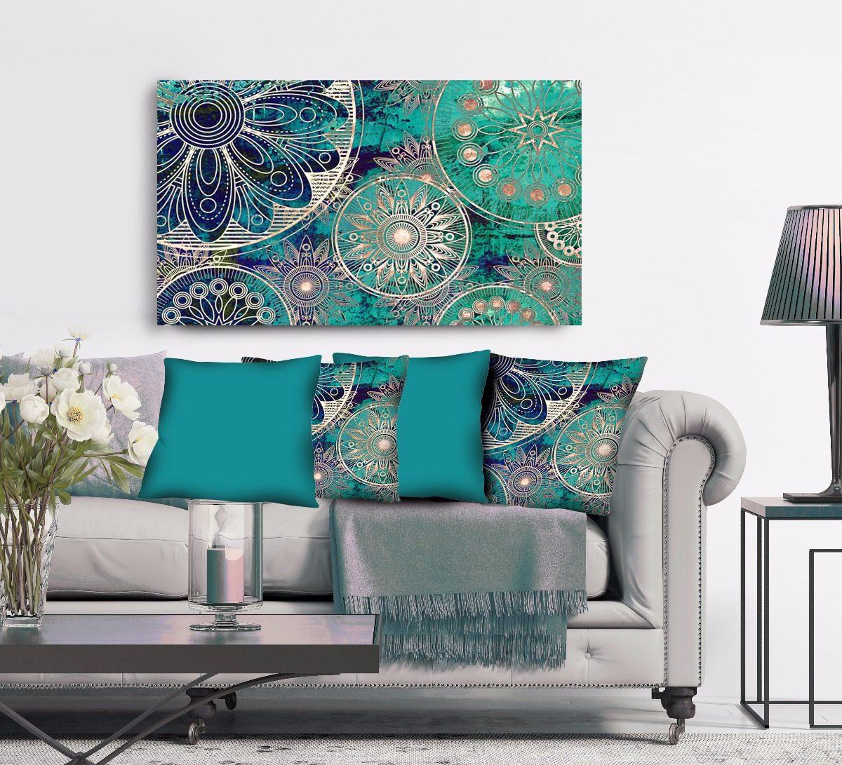 Quadro para sala azul turquesa branco 4 capas de - Azul turquesa pared ...