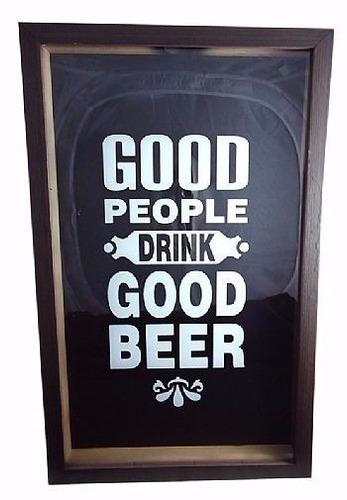 quadro para tampinha decoração bar casa - good people beer
