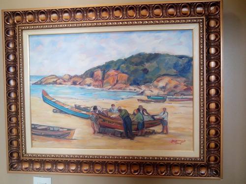 quadro pescadores ost 70 cm x 50 cm artista josy araujo