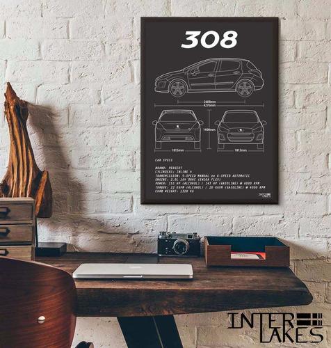 quadro peugeot 308 - interlakes - poster carro
