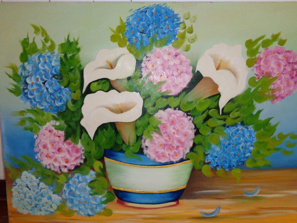 Quadro Pintura A óleo Moldura Flores Copo De Leite 50 X 80