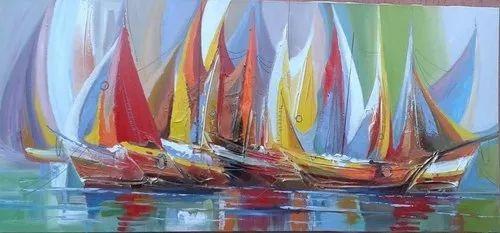 quadro pintura barcos abstrato 130 x 60