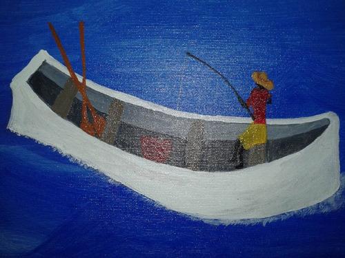 quadro pintura decorativo paisagem o pescador 50x70, so tela