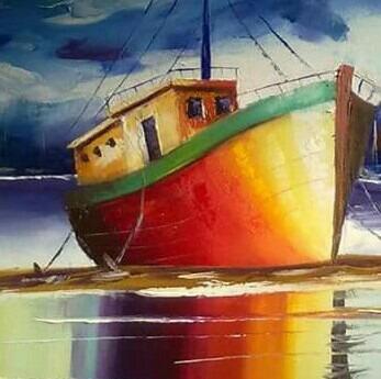 quadro pintura em tela . barco espatulado tamanho 60 por 80