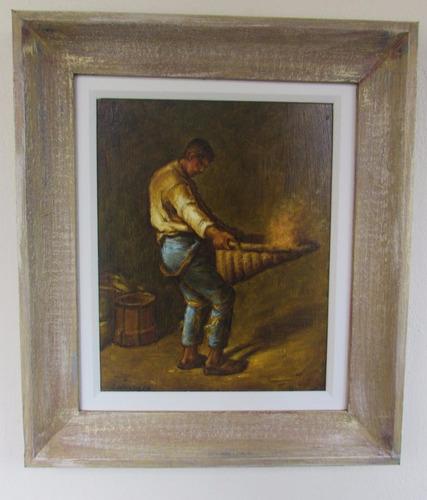 quadro pintura óleo camponês millet 24x30cm frete grátis