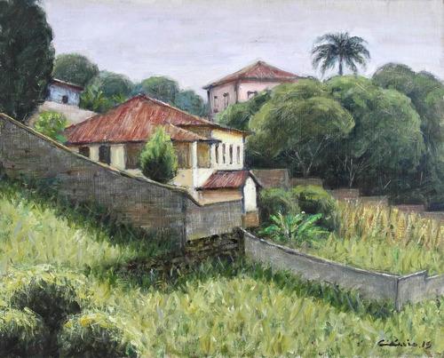 quadro pintura óleo paisagem mariana mg 24x30 frete grátis