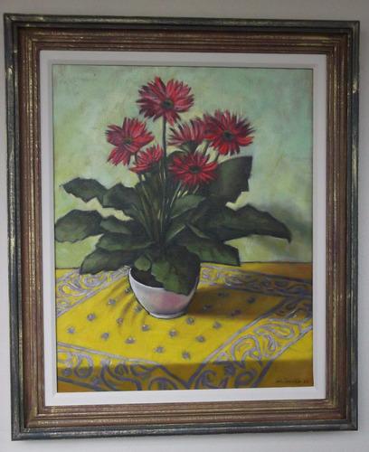 quadro pintura óleo tela nat morta flores 40x50 frete grátis