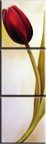 quadro pintura óleo tela tulipas vermelhas trio tríptico