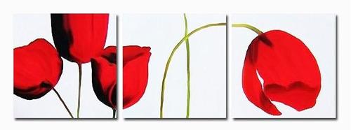 quadro pintura tela abstrata tulipas vermelhas