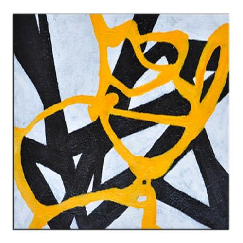 quadro pintura tela abstrato preto amarelo 1,5x1,5 metro
