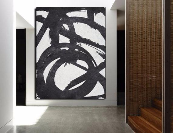 Quadro Pintura Tela Abstrato Preto Branco 15 X 2 Metros