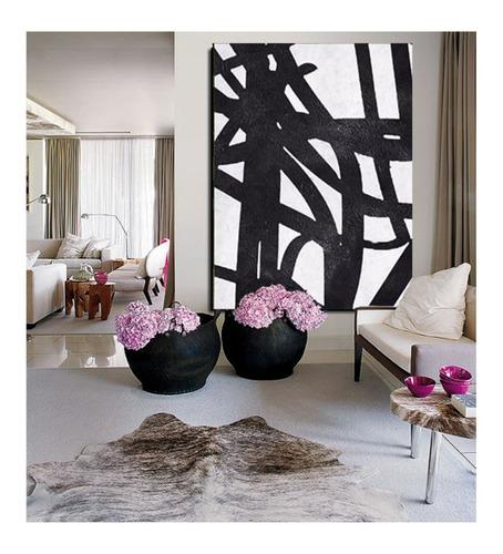 quadro pintura tela preto branco abstrato 1,5 x 2 metros