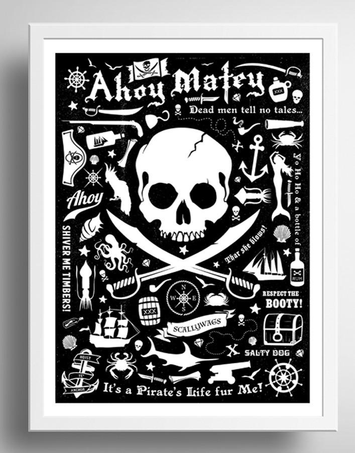 Quadro Pirata Frases Preto Branco Decoracao Moldura Vidro