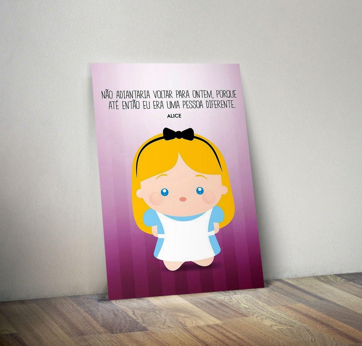 Quadro Placa Decorativa Alice País Maravilhas Frase De187 R 2990