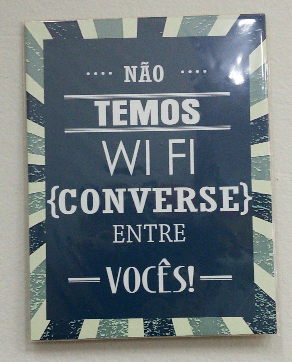 Quadro Placa Madeira Frases De Bar Não Temos Wi Fi