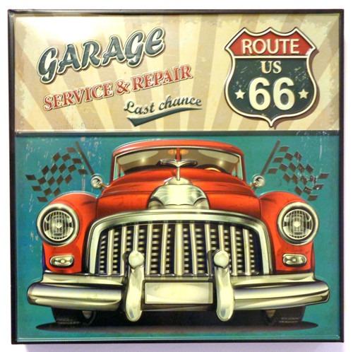 quadro placa metalica em relevo garage route 66 mod fhy. Black Bedroom Furniture Sets. Home Design Ideas