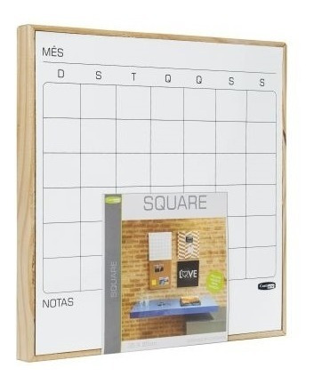 quadro planejamento mensal square lousa magnetico 35x35cm